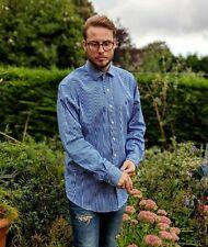 """Vintage Ralph Lauren 16.5"""" Shirt Men's Blue & White Stripe Custom Fit Smart"""