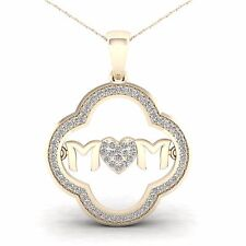 10K Yellow Gold 0.2ct TDW Diamond MOM Heart Pendant Necklace
