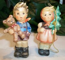 New ListingM.I. Hummel Goebel Ornaments Girl w/ Fir Tree & Boy w/ Christmas Gift 2 Pc Nib