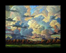 W HAWKINS Original Western Landscape Impressionism Large Oil Painting Art Signed