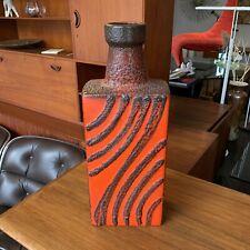 Large West Germany Scheurich Ceramic Vase - Orange Fat Lava MCM Vintage