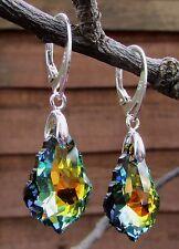 925 STERLING SILVER EARRINGS-SWAROVSKI ELEMENTS-Crystal Sahara 22mm Baroque