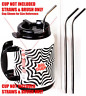 """2 Big Gulp 11.5"""" JUMBO Stainless Steel Straw for 64 oz LONG Drinking Wide Ins..."""