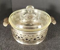 Vintage Clear Glass Etched Casserole Dish Pyrex Metal Farberware Caddy USA