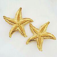 Vintage MASSIVE Starfish Gold tone Textured Beach Tropical Clip Earrings  *EUC*