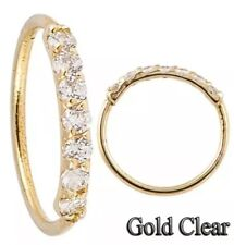 22G Sterling Silver 925 Nose Hoop Ring, 8mm Tragus Cartilage Earring 7-CZ stones