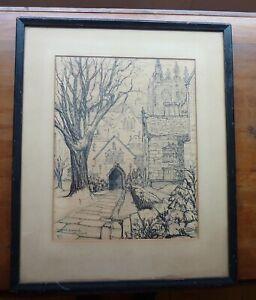 Jan Gelb Signed Drawing Harkness Quadrangle Yale University 1931