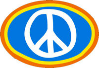 Peace Sign - Small Peace Symbol on Blue Bumper Sticker / Decal