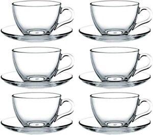 Pasabahce 97948-12-TLG Tassen mit Unterteller Basic, für Tee, Kaffee, Cappuccino