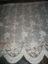 "Net Curtain - 49""(124cm) Drop x 114"" (284cm) Wide flora Pattern & Scalloped Edge"