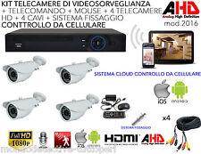 Kit completo videosorveglianza HD AHD 4 canali telecamere spy da esterno interno