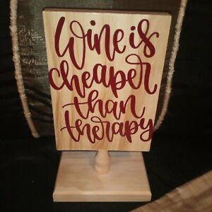 Wood Wine Sign With Vinyl Lettering.