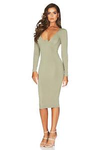 Taila Long Sleeve Khaki Green Midi Dress by NOOKIE XS