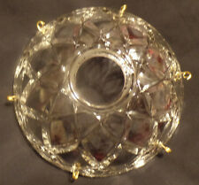 "NEW 4"" Pressed Glass Round Lamp Prism Chandelier Bobeche w/ 6 Brass Pins #BB906"