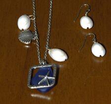 2se Antique Gold Tone Cobalt Blue Beach Sea Glass Cowry Shell Charm Necklace Set
