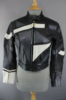 BLACK, GREY & WHITE UVEX LEATHER BIKER JACKET + REMOVABLE BACK PROTECTOR SIZE 12