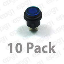 SPST (ON/OFF) ILLUMINATED PUSH BUTTON SWITCH BLUE 20AMPS - 12VDC #66-2491-10PK