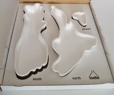 Nuzilla Ceramic Map Dishes New Zealand Islands 3 Piece Set Pre Owned