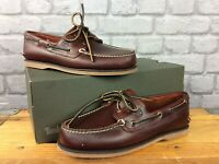 TIMBERLAND MENS UK 9 EU 43.5 BROWN CLASSIC 2 EYE LEATHER BOAT SHOES RRP £110 AD
