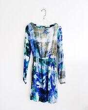 Osei Duro Blue Green White Tie Dye Rayon 'Aburi' Blouson Dress size Small
