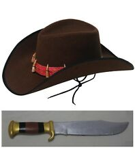 Crocodile Dundee Hat & Knife Set Explorer Hunter Mens Costume Adult Fancy Dress