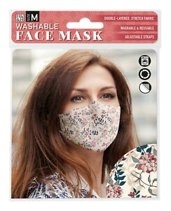 Face Mask Cream Floral (008)  - Beautiful Face Mask with Filter pocket