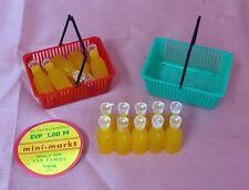 18 FLASCHEN gelbe Limo 2 KÖRBCHEN für KAUFMANNSLADEN Kaufladen DDR