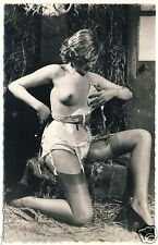 FRENCH NUDE LINGERIE GIRL OUTDOOR / NACKT AKT * Vintage 50s Fetish Photo PC