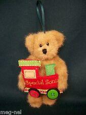 Boyds Bears Push * Sonny *  Ornament for Son New Christmas Bear with Train