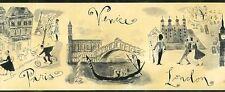 New York Paris London Venice Wall  Border Black Beige KBE65162B FREE SHIP