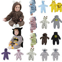 Newborn Baby Boy Girl Hooded Romper Cartoon Jumpsuit Bodysuit Outfits Clothes US