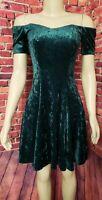 Vintage Green Velvet Off Shoulder Dress Short Sleeve Fit and Flare Dress Size S
