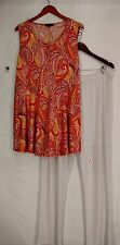 Slinky Plus Size Set 1X Paisley Printed Top & Solid Pant Set Orange NWOT
