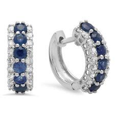 14K White Gold Round White Diamond & Blue Sapphire Ladies Huggies Hoop Earrings