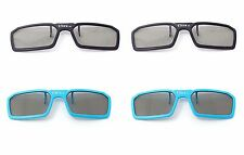 4 Pairs of 3D Clip on Glasses 2 Blue 2 Black Passive 3d Tvs Cinema 3D RealD Imax