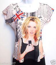 Bnwt femmes modo jeune London rose avec strass union jack t-shirt top s/m uk 10-12