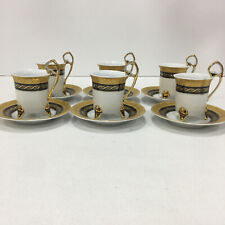 Handmade Gold Trim Turkish Coffee Set Cups /& Round Dishes Porcelain of 5