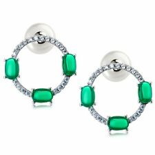 ZARD CZ Imitation Emerald and Pearl Push Back Endless Hoop Cocktail Earrings