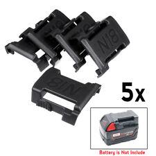 5Pcs Black Battery Mounts For MILWAUKEE M18 18V Storage Holder Shelf Rack Slots
