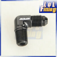 "AN4 4AN AN-4 Male To 1/8"" NPT 90 Degree Aluminum Fuel Adapter Fittings Black"