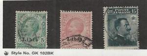 Libya, Postage Stamp, #3-4, 5 Used, 1912-22 Italian Colony