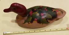 Vintage Handcrafted and painted Wooden Duck Decorative Decoy Carved Sculpture
