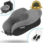 U-Shaped Memory Foam Rebound Travel Pillow Neck Support Head Rest Airplane Sleep <br/> [Easy Storage][Soft Washable Cover][Warranty Included]