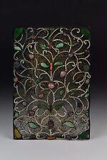 Antique Chinese Openwork Filigree Panel w/ Coral Jade Rose Quartz Hardstones