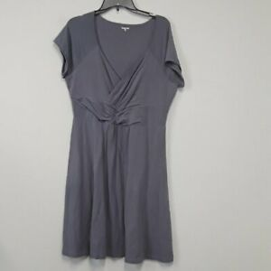 Garnet Hill Gray Mock Wrap Twist front detail short sleeve Midi Dress Size Large
