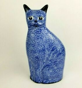 "Vintage Enesco Blue Spongeware Cat Ceramic Statue Figurine 12"" Tall"
