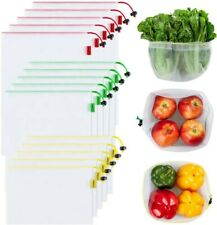 New listing Ecowaare Set of 15 Reusable Mesh Produce Bags3 Sizes Washable and SeeThrough