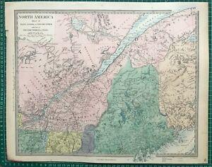 1865 Good size antique SDUK / Walker Map: East Canada, New Brunswick, Maine