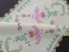 Beautiful Hand Embroidered Vintage Centre - Purple Orchids - Crocheted Edging