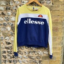 WOMENS ELLESSE NAVY CREW NECK SWEATER LARGE UK 14 JUMPER TOP KNIT